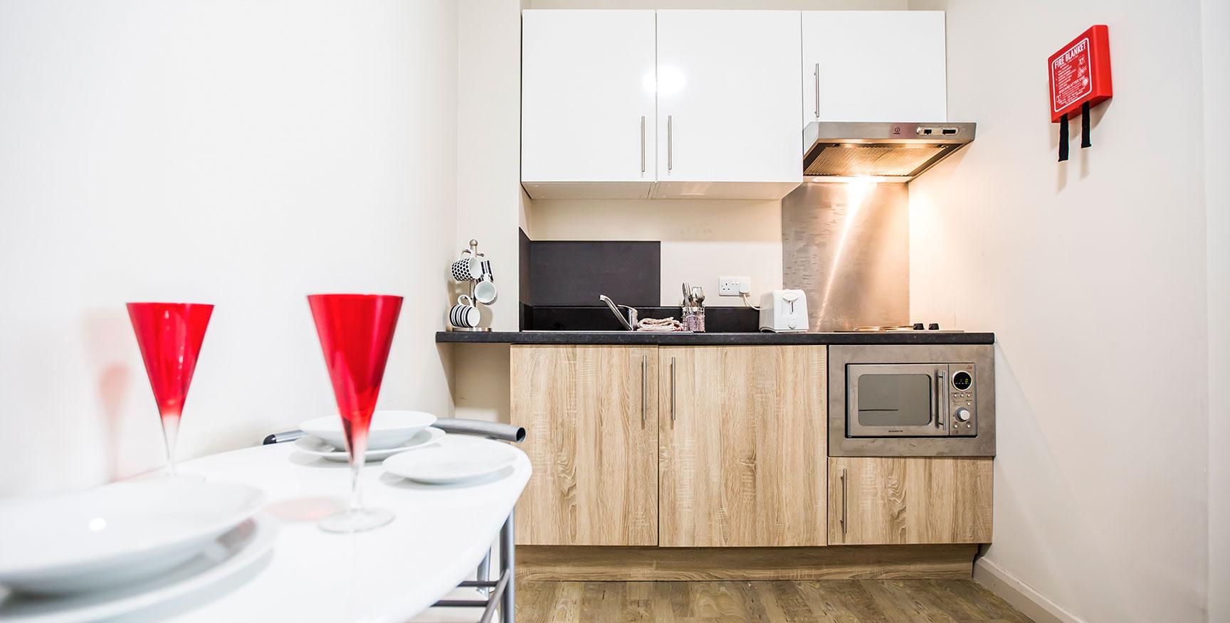 Alexandra House - Luxury Student Accommodation Sheffield (a typical kitchen)