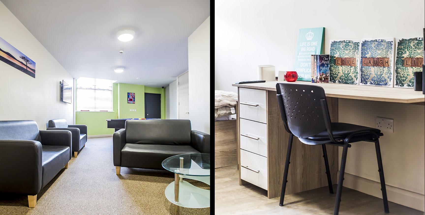 Alexandra House - Luxury Student Accommodation Sheffield (communal room and studio)